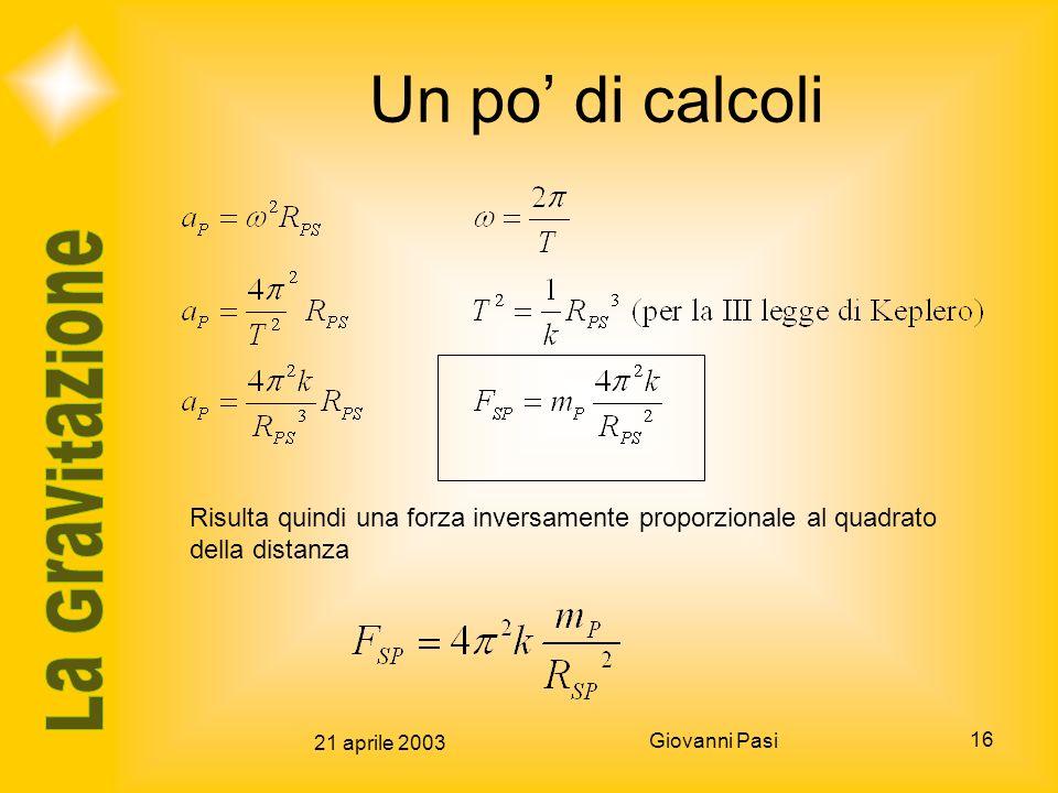 Un po' di calcoli Risulta quindi una forza inversamente proporzionale al quadrato della distanza