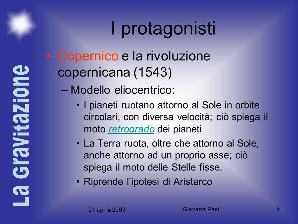 I protagonisti Copernico e la rivoluzione copernicana (1543)