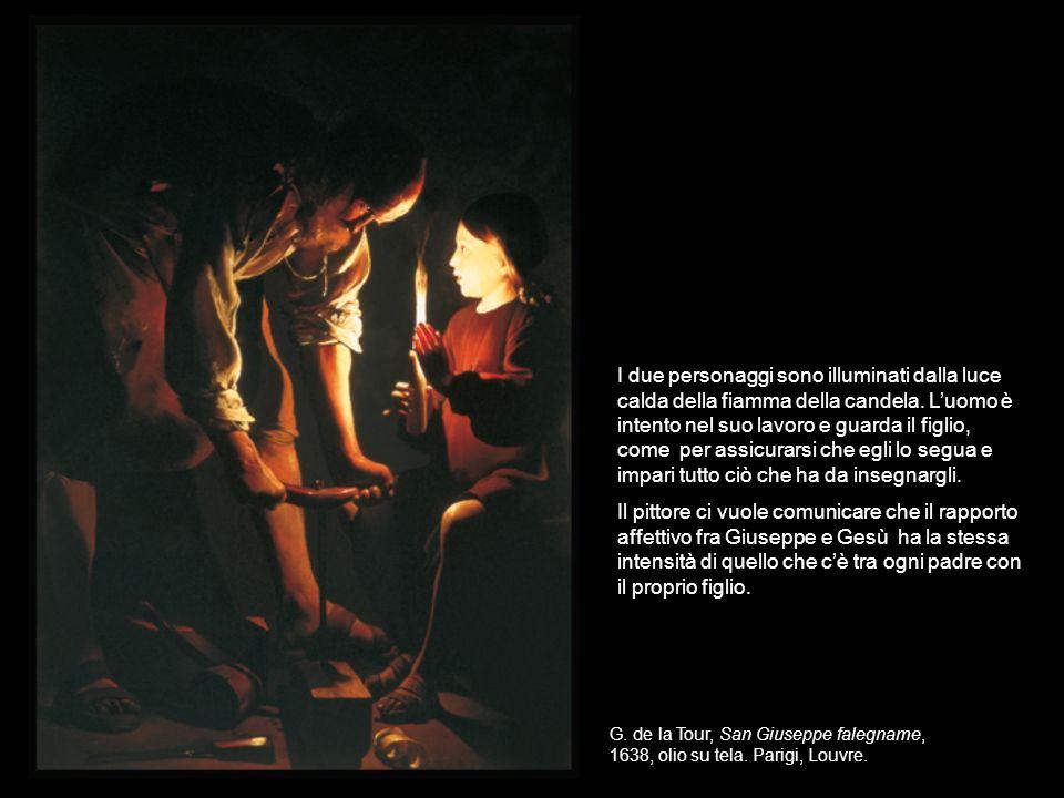 I due personaggi sono illuminati dalla luce calda della fiamma della candela. L'uomo è intento nel suo lavoro e guarda il figlio, come per assicurarsi che egli lo segua e impari tutto ciò che ha da insegnargli.