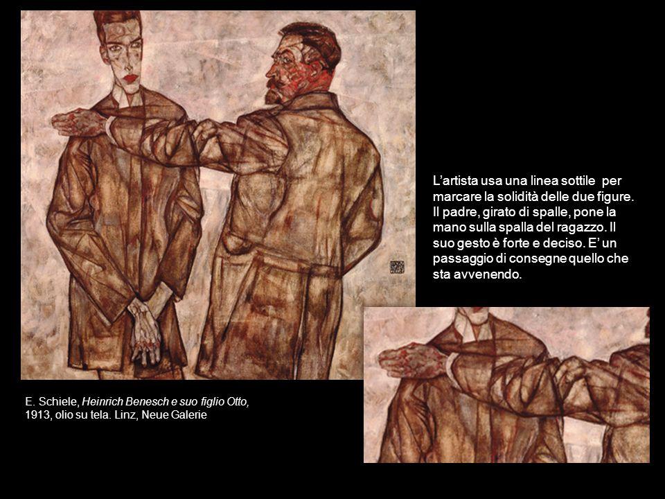 L'artista usa una linea sottile per marcare la solidità delle due figure.