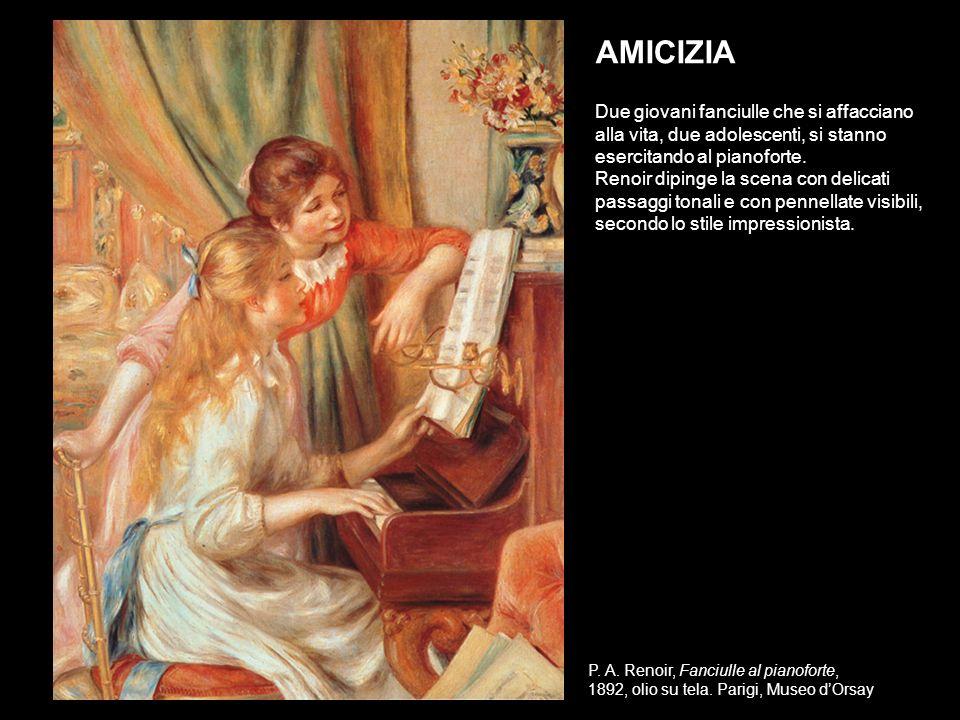 AMICIZIA Due giovani fanciulle che si affacciano alla vita, due adolescenti, si stanno esercitando al pianoforte.