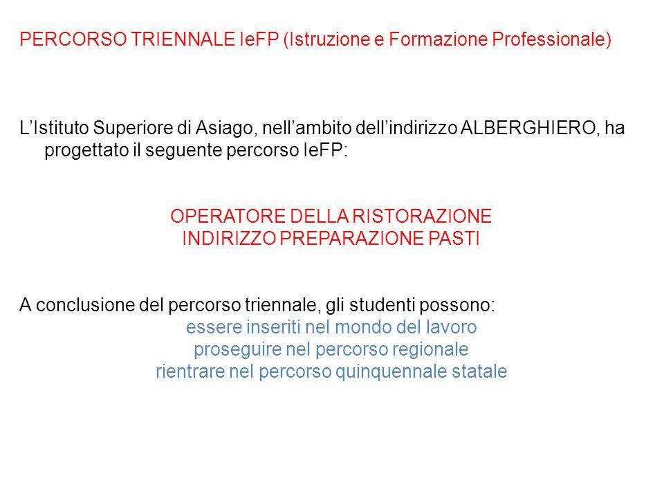 PERCORSO TRIENNALE IeFP (Istruzione e Formazione Professionale)