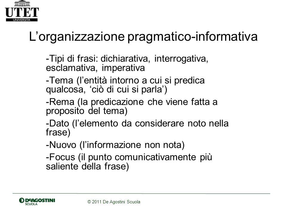 L'organizzazione pragmatico-informativa