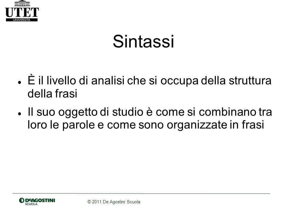 Sintassi È il livello di analisi che si occupa della struttura della frasi.