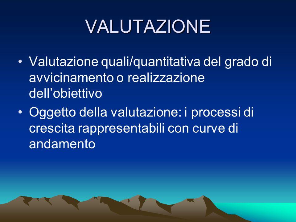 VALUTAZIONE Valutazione quali/quantitativa del grado di avvicinamento o realizzazione dell'obiettivo.