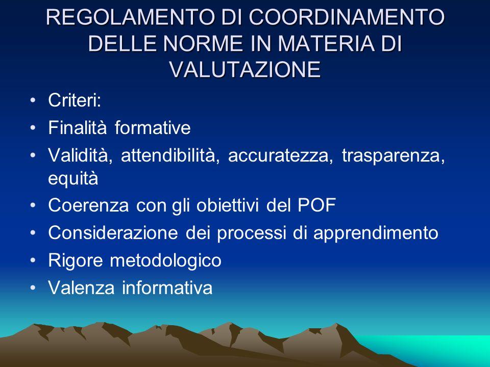 REGOLAMENTO DI COORDINAMENTO DELLE NORME IN MATERIA DI VALUTAZIONE