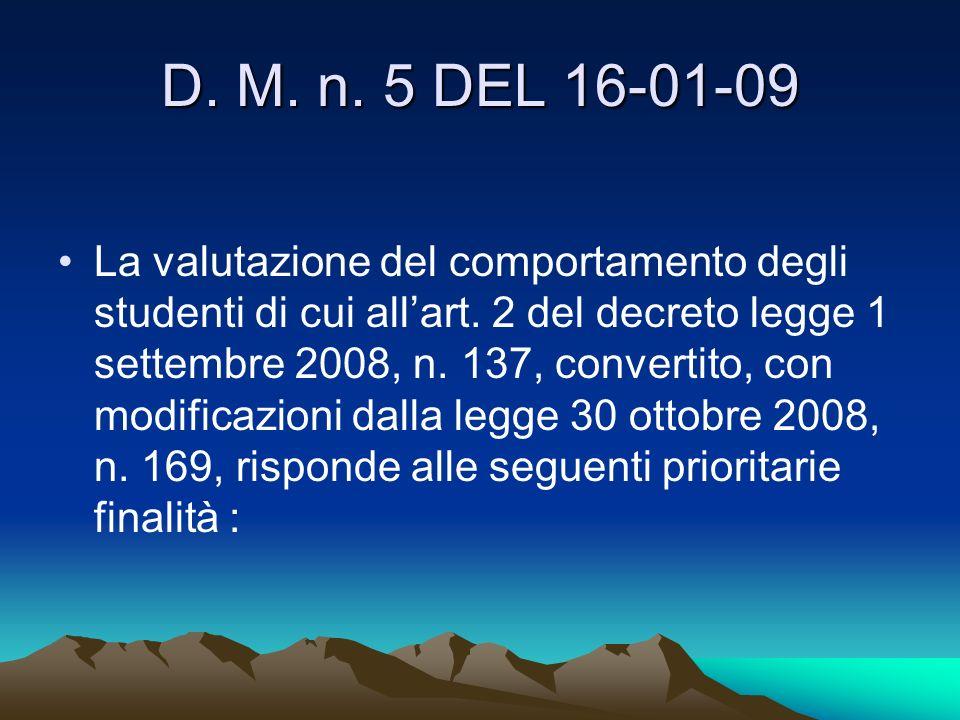 D. M. n. 5 DEL 16-01-09