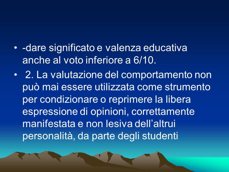 -dare significato e valenza educativa anche al voto inferiore a 6/10.