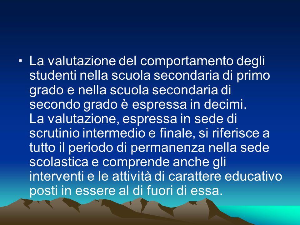 La valutazione del comportamento degli studenti nella scuola secondaria di primo grado e nella scuola secondaria di secondo grado è espressa in decimi.
