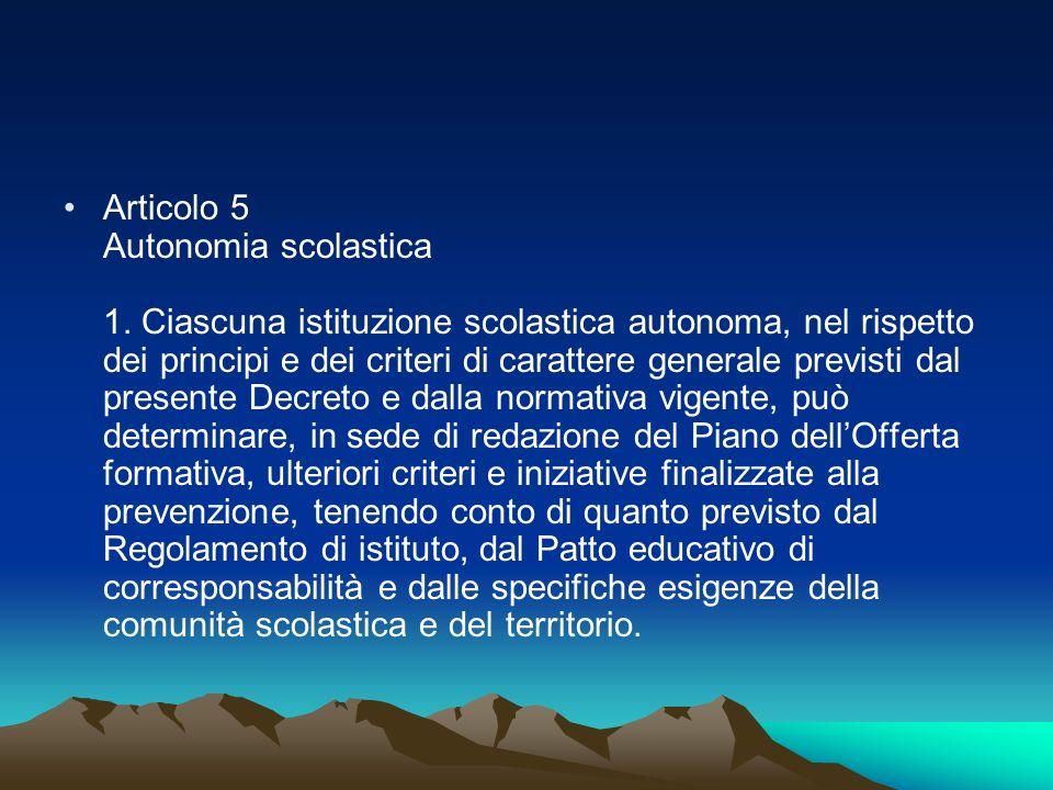 Articolo 5 Autonomia scolastica 1