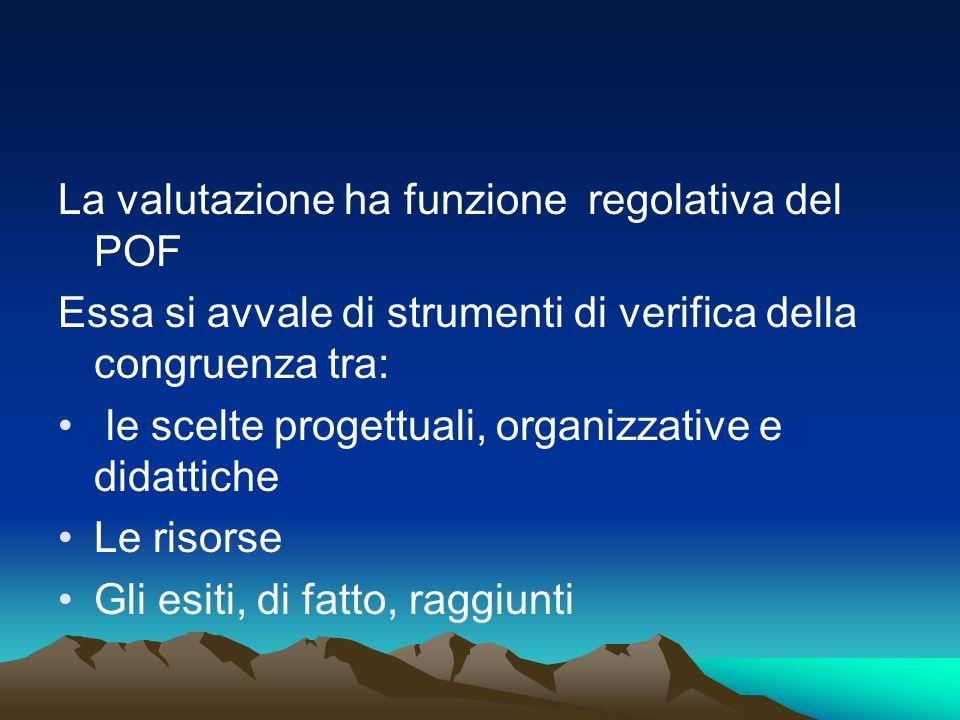 La valutazione ha funzione regolativa del POF