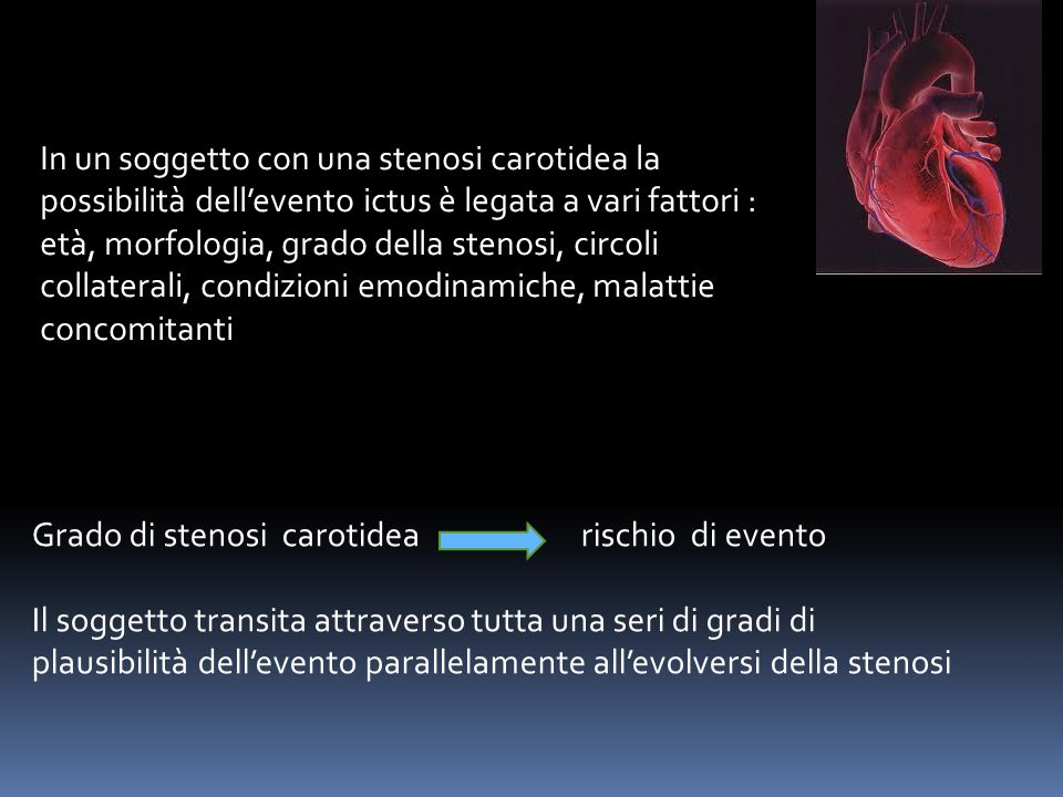 In un soggetto con una stenosi carotidea la possibilità dell'evento ictus è legata a vari fattori : età, morfologia, grado della stenosi, circoli collaterali, condizioni emodinamiche, malattie concomitanti