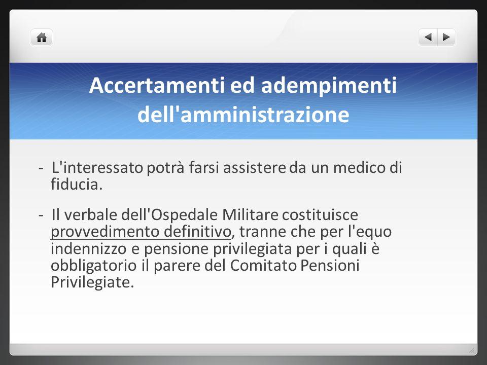 Accertamenti ed adempimenti dell amministrazione