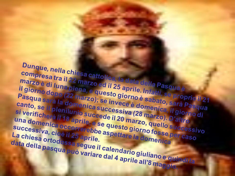 Dunque, nella chiesa cattolica, la data della Pasqua è compresa tra il 22 marzo ed il 25 aprile. Infatti, se proprio il 21 marzo è di luna piena, e questo giorno è sabato, sarà Pasqua il giorno dopo (22 marzo); se invece è domenica, il giorno di Pasqua sarà la domenica successiva (28 marzo). D altro canto, se il plenilunio succede il 20 marzo, quello successivo si verificherà il 18 aprile, e se questo giorno fosse per caso una domenica occorrerebbe aspettare la domenica successiva, cioè il 25 aprile.