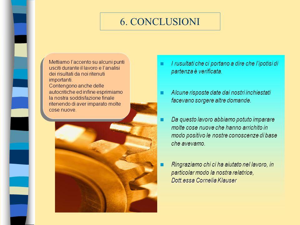 6. CONCLUSIONI Mettiamo l'accento su alcuni punti usciti durante il lavoro e l'analisi dei risultati da noi ritenuti importanti.