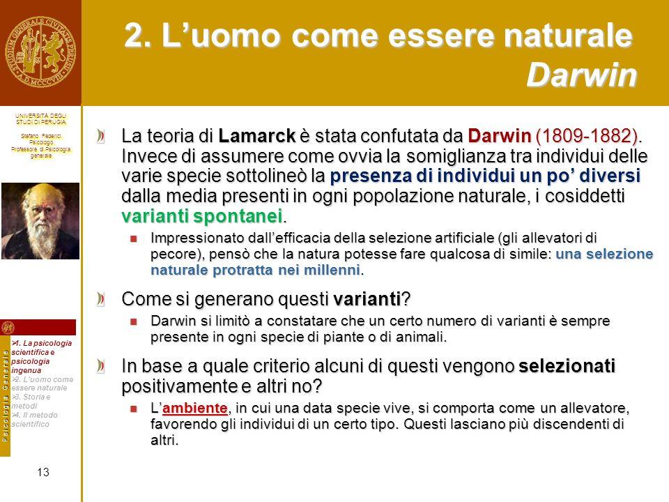 2. L'uomo come essere naturale Darwin
