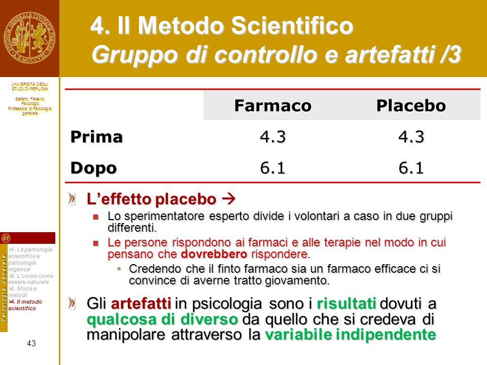 4. Il Metodo Scientifico Gruppo di controllo e artefatti /3