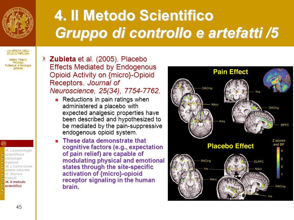 4. Il Metodo Scientifico Gruppo di controllo e artefatti /5