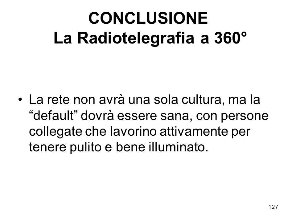 CONCLUSIONE La Radiotelegrafia a 360°