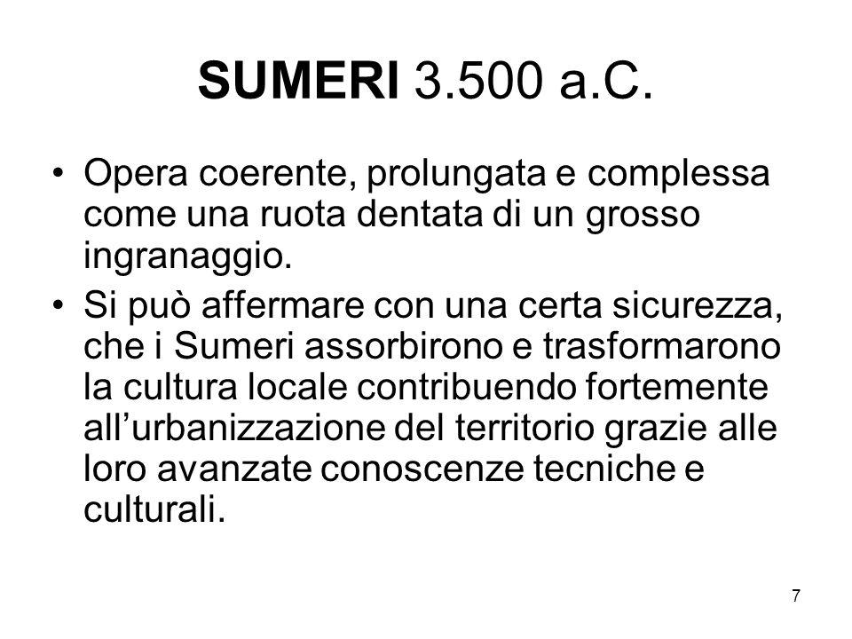 SUMERI 3.500 a.C. Opera coerente, prolungata e complessa come una ruota dentata di un grosso ingranaggio.