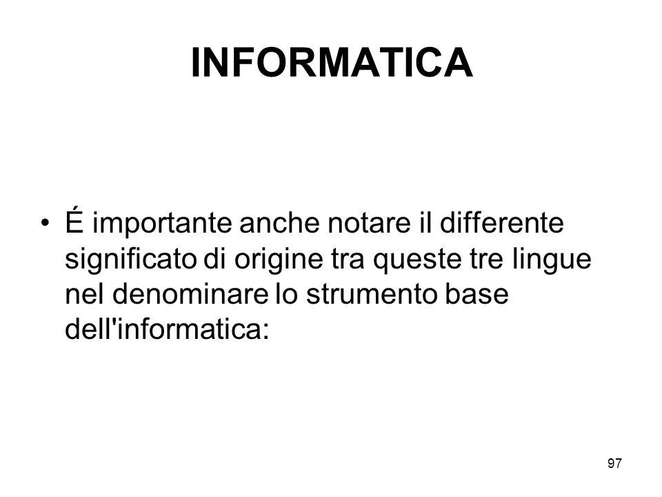 INFORMATICA É importante anche notare il differente significato di origine tra queste tre lingue nel denominare lo strumento base dell informatica: