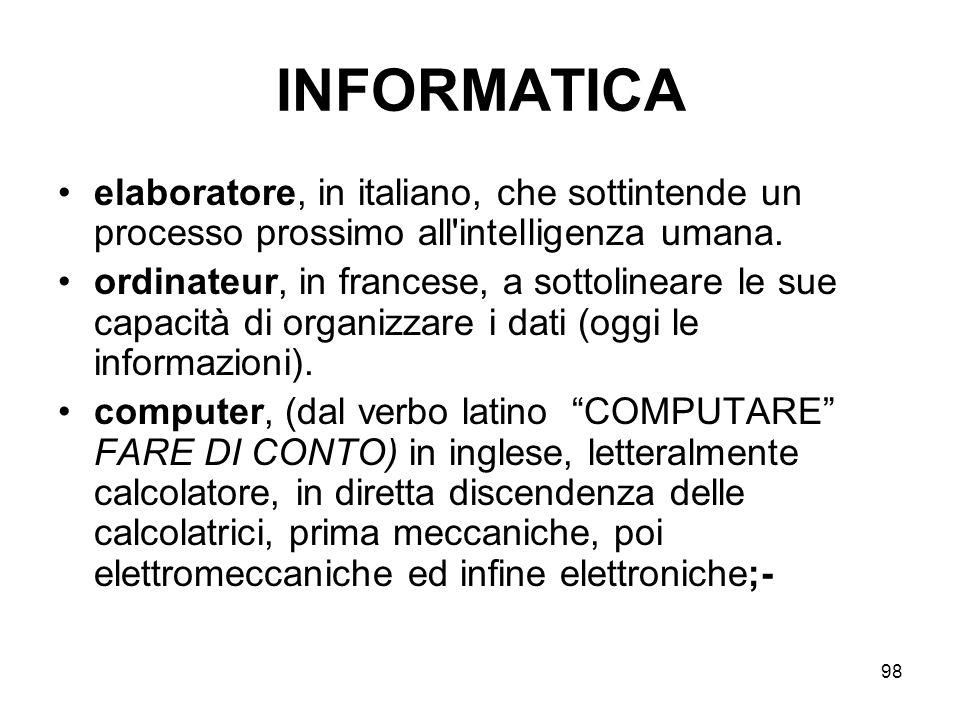 INFORMATICA elaboratore, in italiano, che sottintende un processo prossimo all intelligenza umana.