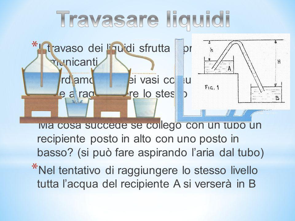 Travasare liquidi Il travaso dei liquidi sfrutta il principio dei vasi comunicanti.
