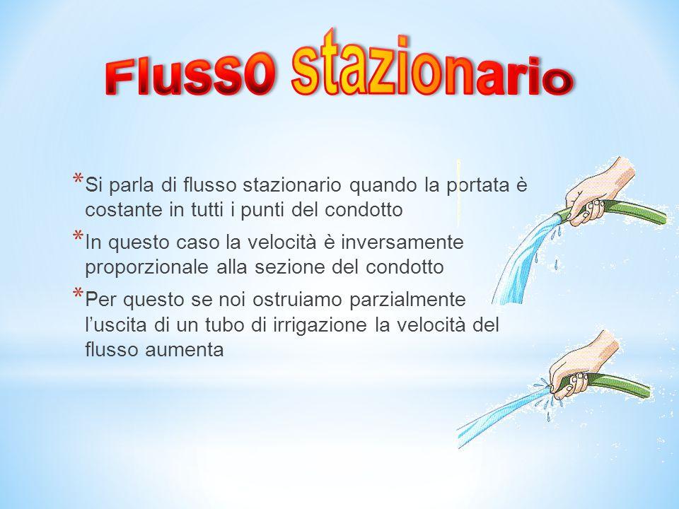 Flusso stazionario Si parla di flusso stazionario quando la portata è costante in tutti i punti del condotto.