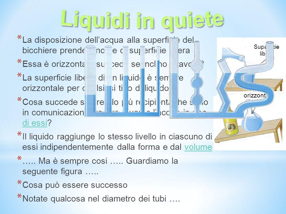 Liquidi in quiete La disposizione dell'acqua alla superficie del bicchiere prende il nome di superficie libera.