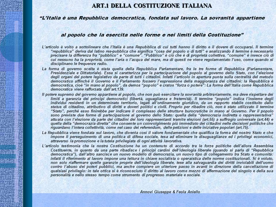 ART.1 DELLA COSTITUZIONE ITALIANA L'Italia è una Repubblica democratica, fondata sul lavoro. La sovranità appartiene al popolo che la esercita nelle forme e nei limiti della Costituzione