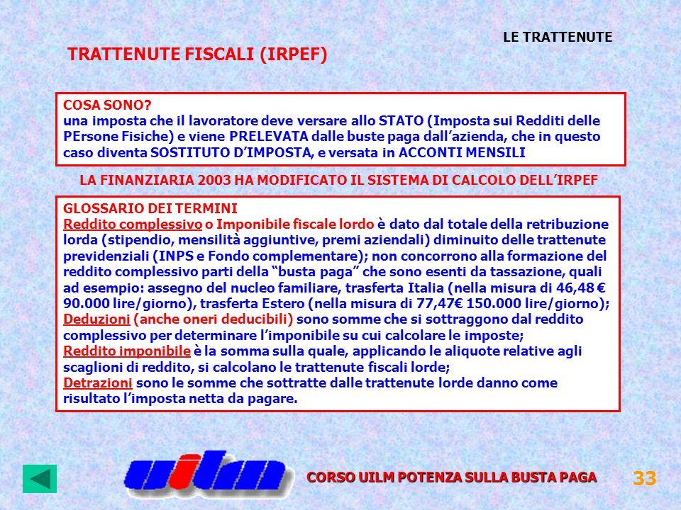 TRATTENUTE FISCALI (IRPEF) CORSO UILM POTENZA SULLA BUSTA PAGA