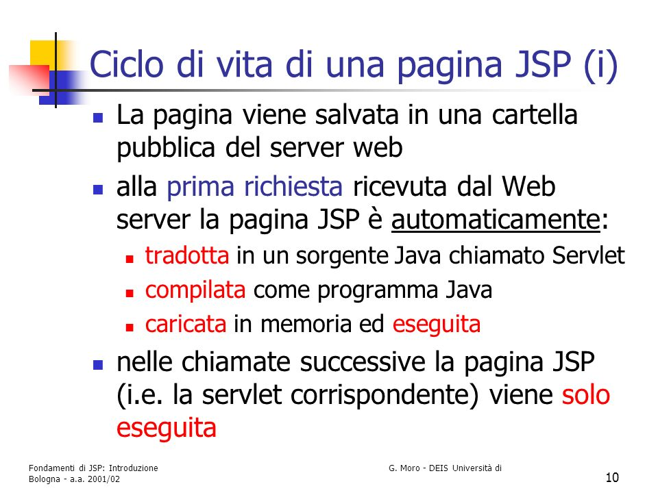 Ciclo di vita di una pagina JSP (i)