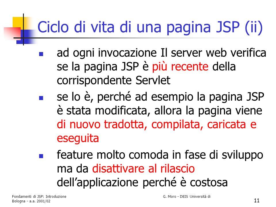 Ciclo di vita di una pagina JSP (ii)
