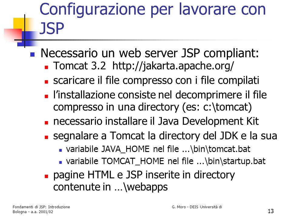Configurazione per lavorare con JSP