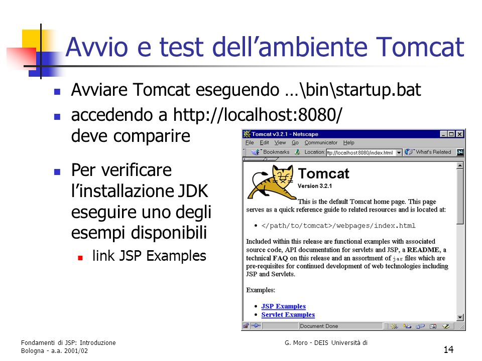 Avvio e test dell'ambiente Tomcat