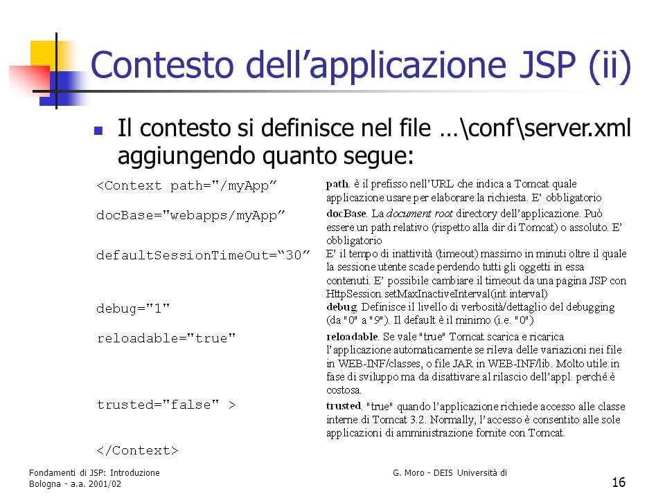 Contesto dell'applicazione JSP (ii)