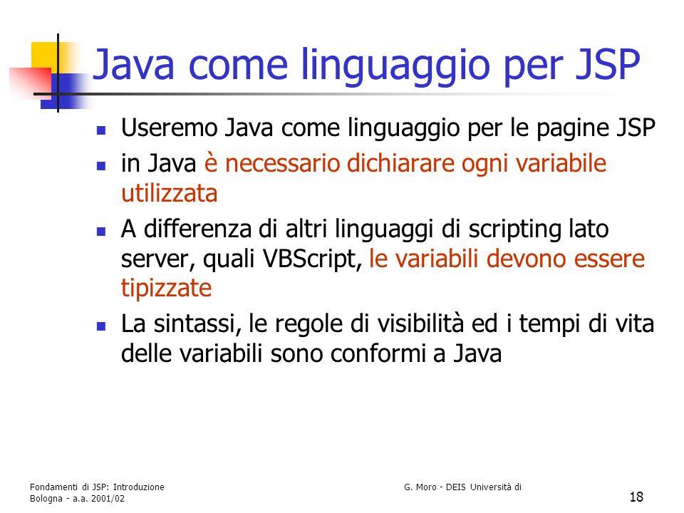 Java come linguaggio per JSP