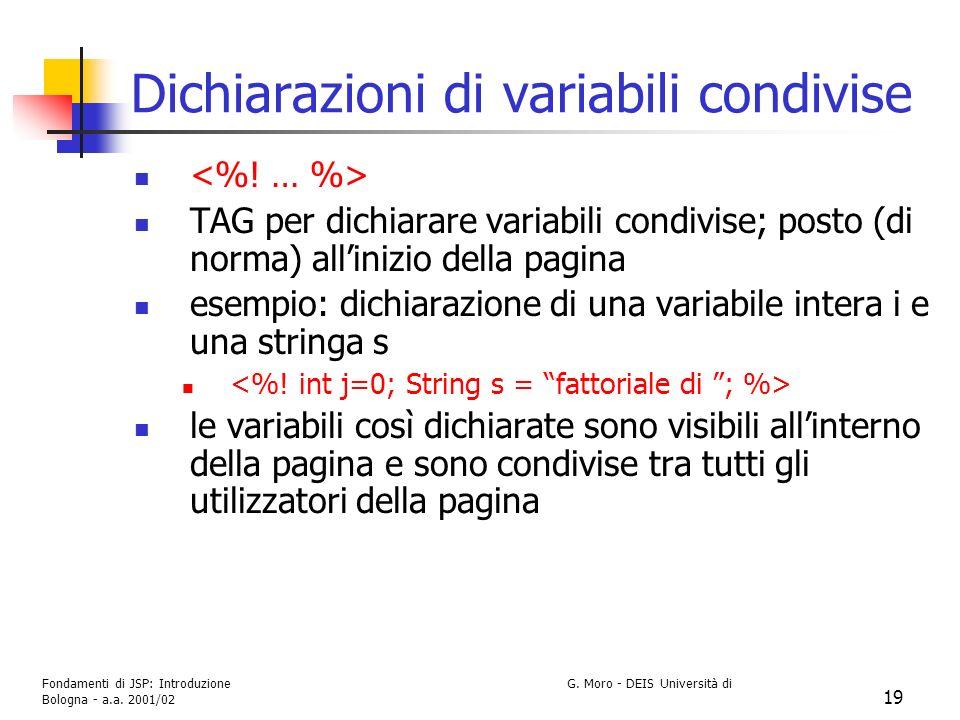 Dichiarazioni di variabili condivise