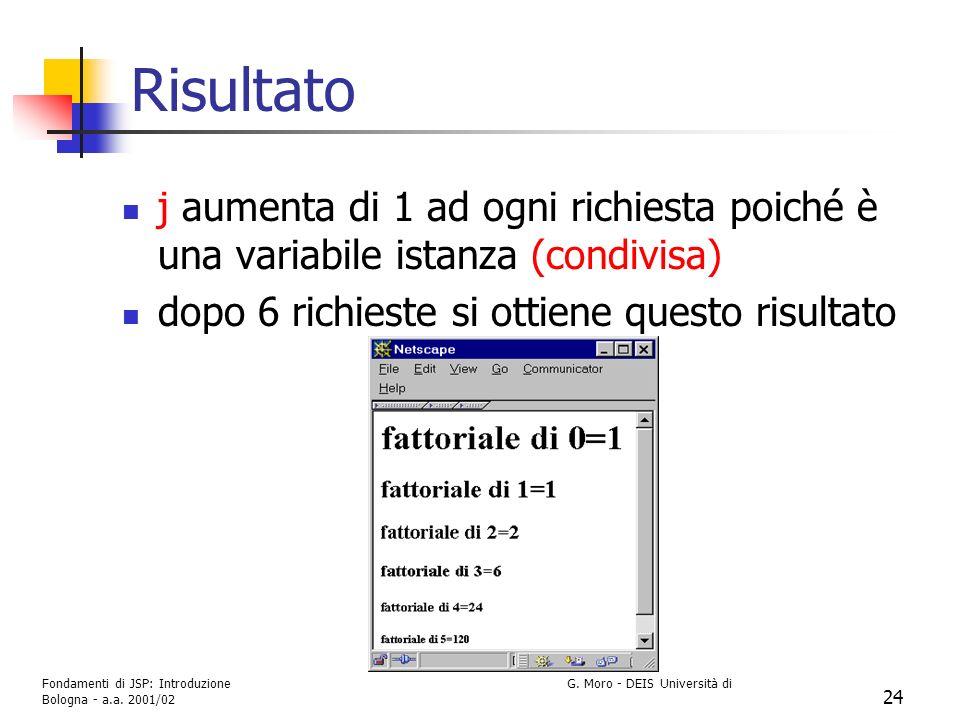 Risultato j aumenta di 1 ad ogni richiesta poiché è una variabile istanza (condivisa) dopo 6 richieste si ottiene questo risultato.
