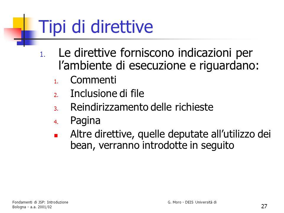 Tipi di direttive Le direttive forniscono indicazioni per l'ambiente di esecuzione e riguardano: Commenti.
