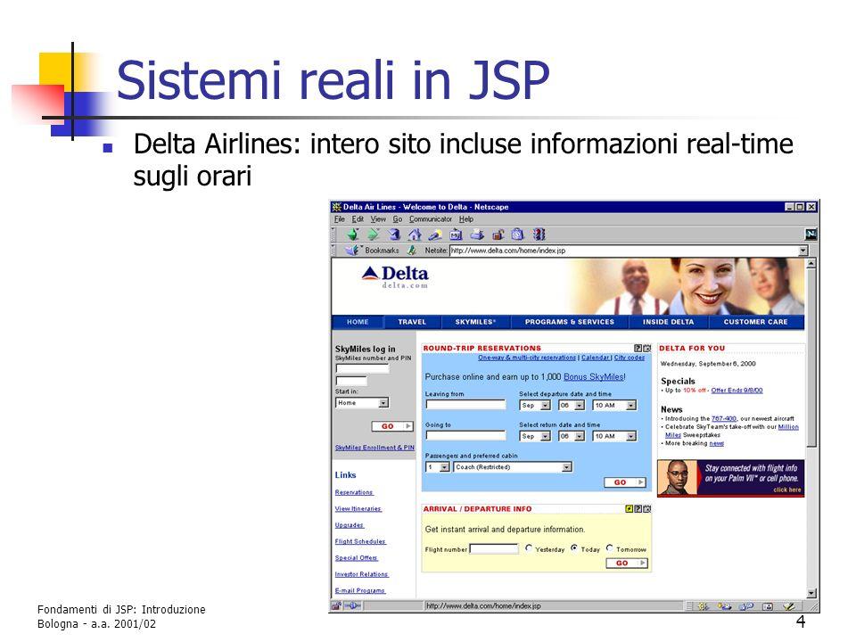 Sistemi reali in JSP Delta Airlines: intero sito incluse informazioni real-time sugli orari.