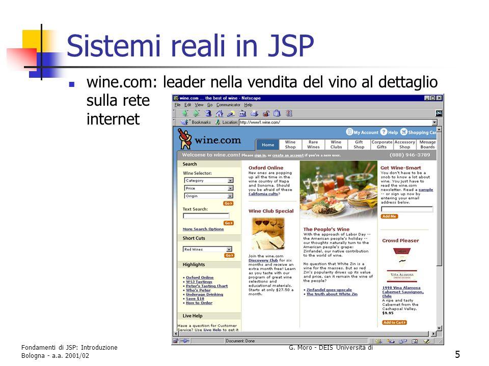 Sistemi reali in JSP wine.com: leader nella vendita del vino al dettaglio sulla rete internet.