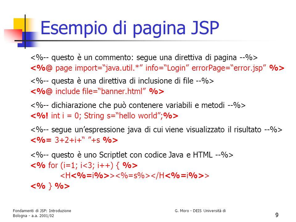 Esempio di pagina JSP <%-- questo è un commento: segue una direttiva di pagina --%>