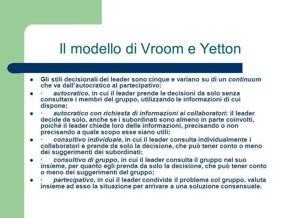 Il modello di Vroom e Yetton