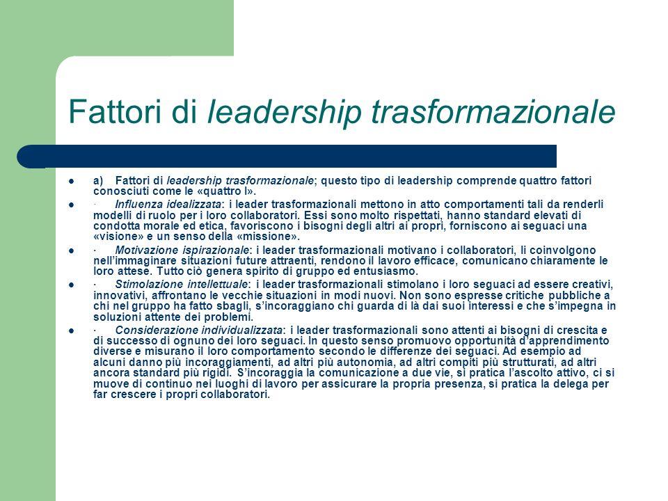 Fattori di leadership trasformazionale