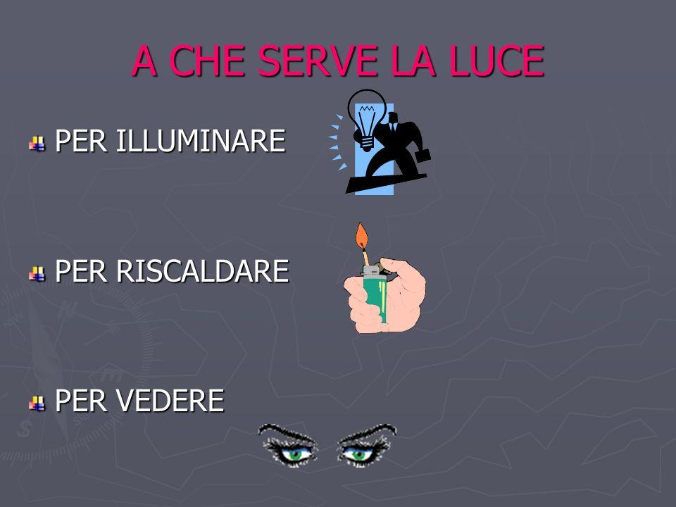 A CHE SERVE LA LUCE PER ILLUMINARE PER RISCALDARE PER VEDERE