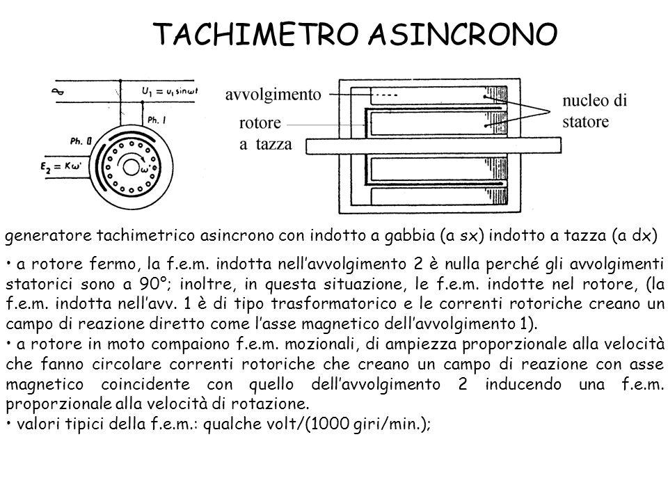 TACHIMETRO ASINCRONO generatore tachimetrico asincrono con indotto a gabbia (a sx) indotto a tazza (a dx)