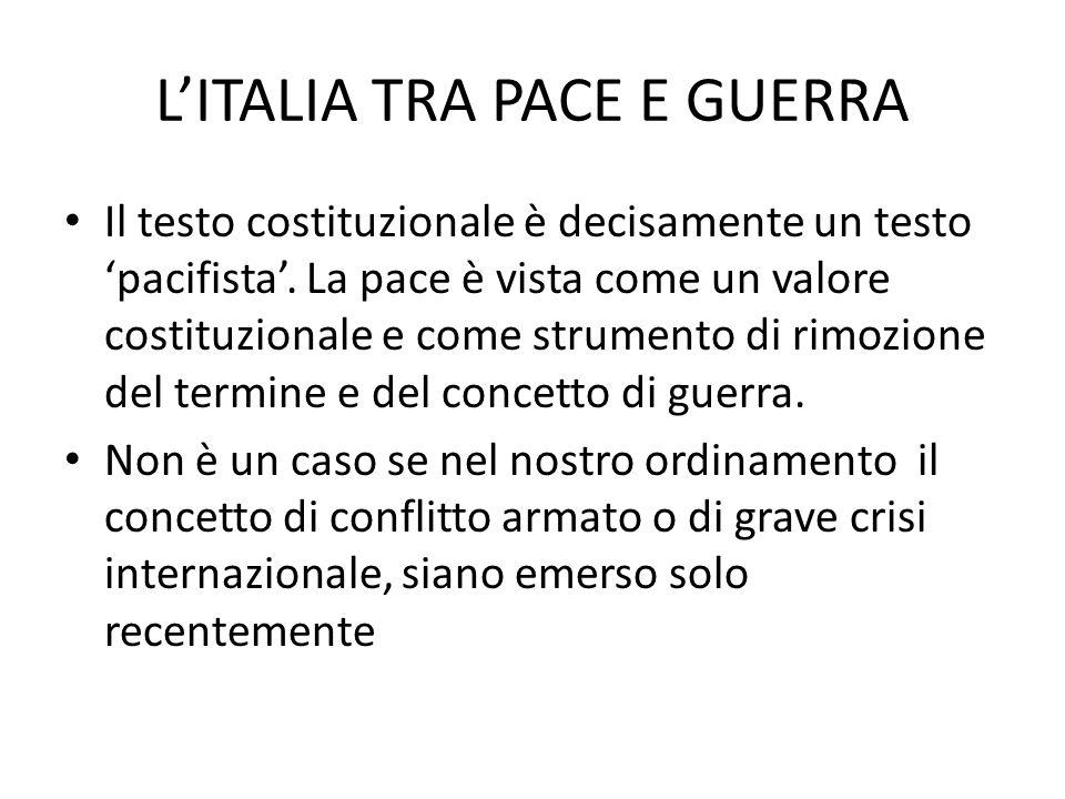 L'ITALIA TRA PACE E GUERRA