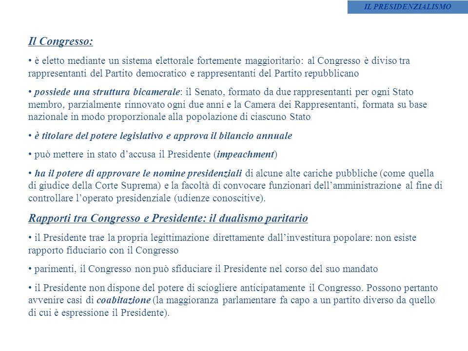 Rapporti tra Congresso e Presidente: il dualismo paritario
