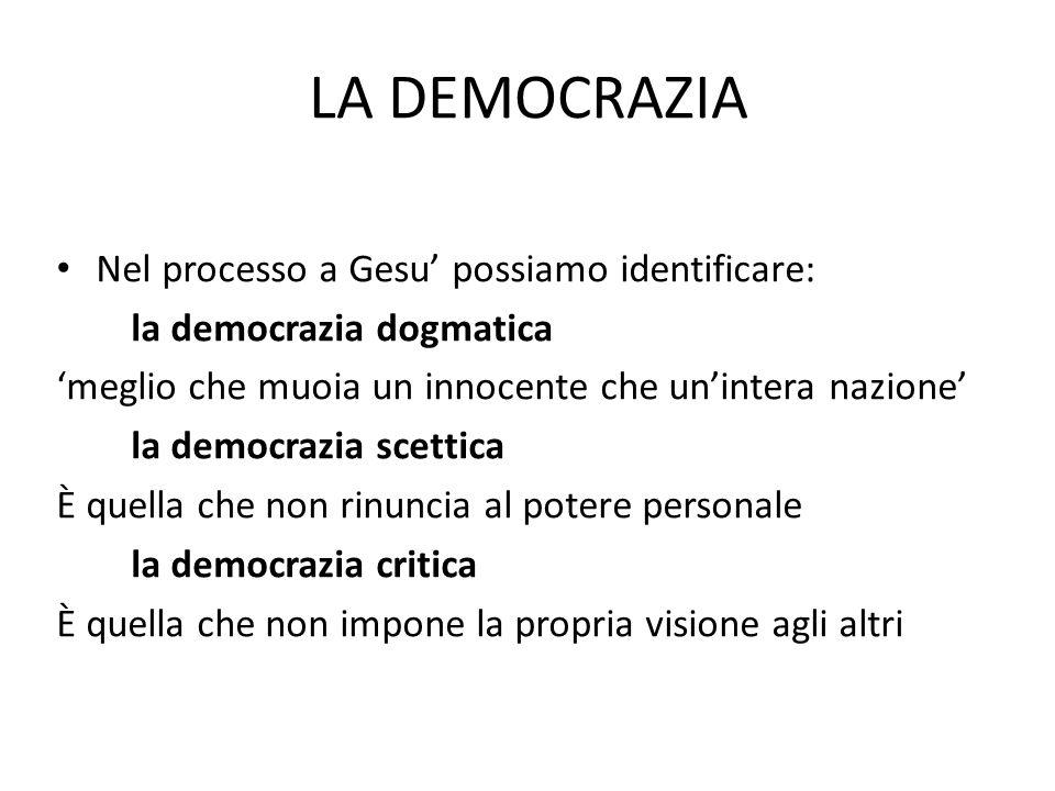 LA DEMOCRAZIA Nel processo a Gesu' possiamo identificare: